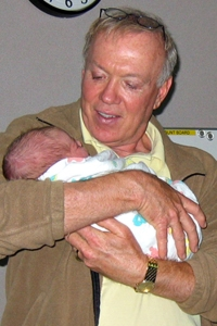 Holding my son when he was barely an hour old.